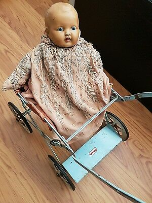 Antique Doll & Tri-ang dolls pram buggy very old collectable toy collector