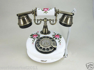 New European Style craft Resin + Solid Wood Antique Ancient Dial Telephone