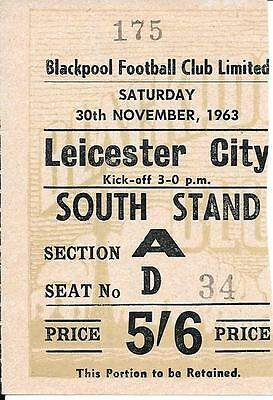 Ticket Blackpool v Leicester City 1963/64