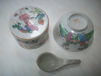 Very Old Chinese Bowl,  Container with Lid Cover  & Spoon -  Good Condition