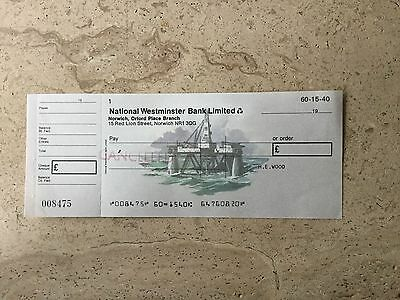 National Westminster Bank  1977pictorial cheque; North Sea Oil