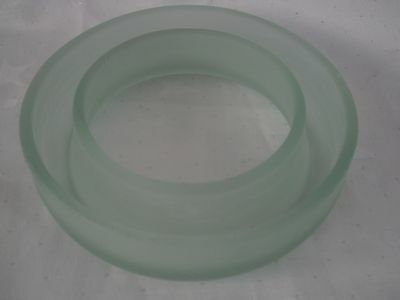 Art Deco Bagley Frosted Green Pressed Glass Round Flower Head Bloom Trough Vgc
