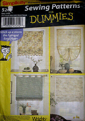 Simplicity PATTERNS FOR DUMMIES Roman Shades Window Coverings Pattern 5260 UC