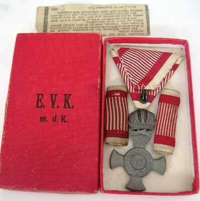 Austro-Hungary WWI Iron Cross with crown and case, order  , medal