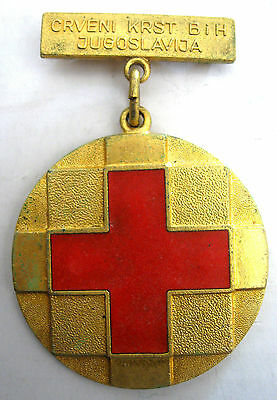 RED CROSS YUGOSLAVIA -BOSNIA & HERZEGOVINA RED CROSS GOLD ENAMEL MEDAL, 58x38 mm