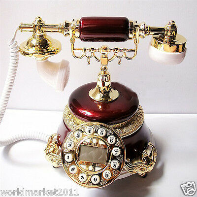 !New European Style High Grade Paint Resin Antique Ancient Dial Telephone