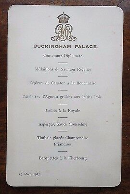 King George V Queen Mary Royal Dinner Menu 15 March 1923 Buckingham Palace