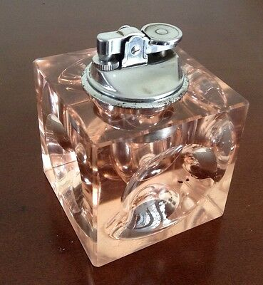 RETRO 1970's PINK GLASS DIMPLE CUBE LIGHTER