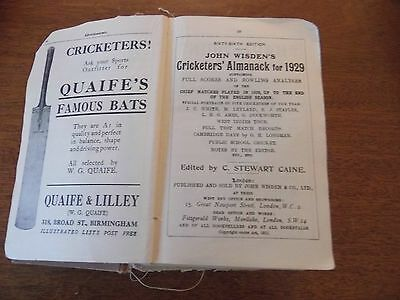Wisden Cricketers' Almanack 1929 rebound paperbacked edition FAIR only condition