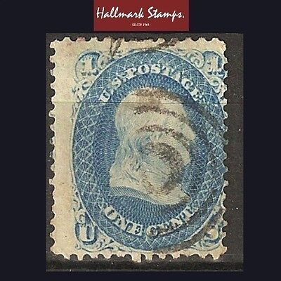 us old stamp 1 cent 1861 franklin bright blue used sg60 useful nice perfs