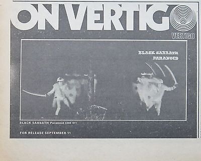 "Black Sabbath ""Paranoid"" 1970 UK ad + Bonus x 2"
