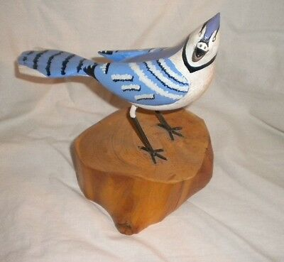 Hand Carved Hand Painted Wood Blue Jay