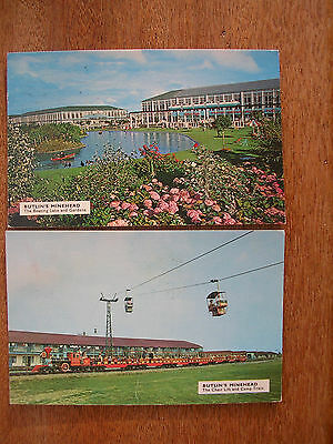 Butlins, Minehead (2 Cards) Boating Lake & Camp Train /chair Lift, P/m 1975