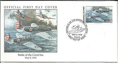 Arcade 99p Marshall Is 1992 Battle of the Coral Sea FDC