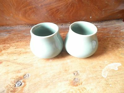 Denby Stoneware, Manor Green,  pair of matching salts/condiment pots