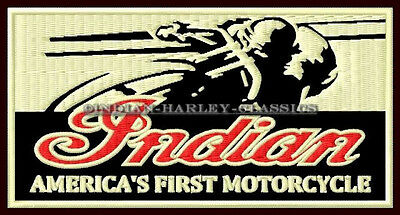 """INDIAN MOTORCYCLE EMBROIDERED PATCH ~4-3/4""""x 2-1/2"""" RACER CHIEF SCOUT ROADMASTER"""