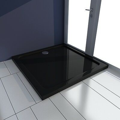 New Square ABS Shower Base Tray Black 80 x 80 cm Drain Modern Bathroom Enclosure