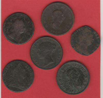 6 x EARLY COPPER HALFPENNY COINS. See both scans.