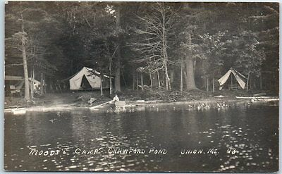 "Union, Maine RPPC Real Photo Postcard ""MOODY'S CAMP, Crawford Pond"" 1910s Unused"