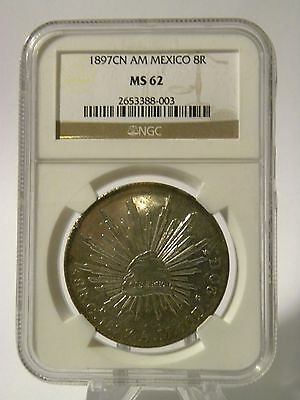 1897 CN AM Mexico / Mexican 8 Reales NGC MS 62 *Mirrored Fields*