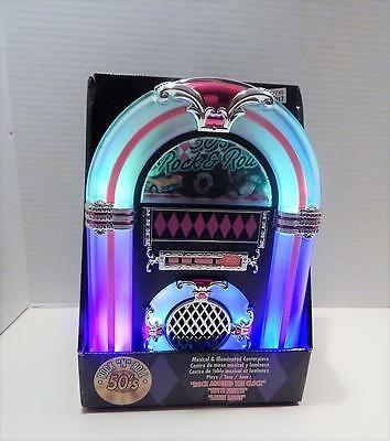 "NEW 50's Rock""N""Roll Illuminated And Musical Tabletop Jukebox Centerpiece"