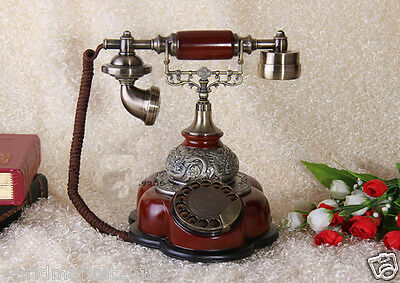 European Style Rotary Red Resin+Solid Wood Antique Fashion Dial Telephone