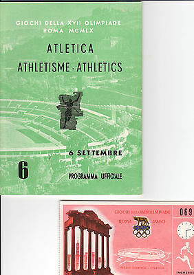 OLYMPIC MEMORABILIA -  1960 ROME OLYMPICS - programme & ticket - 6th September