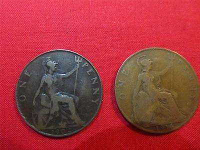 UK Great Britain Mixed ONE Penny Lot of 2 Coins 1904 to 1916 Ungraded Item2489