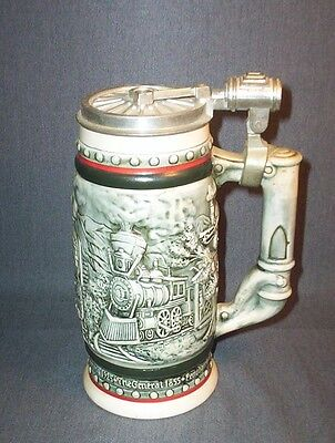 1982 Ceramic Lidded Stein Avon Ceramarte TRAINS Union Pacific Orient Express