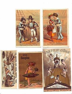 5 Victorian Trade Cards advertising Soaps & Cleaners, circa 1880