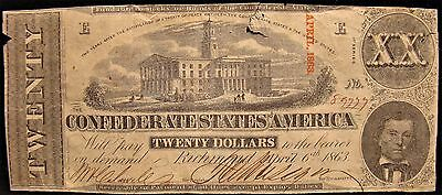 1863-Confederate $20.00 Note From Manchester Tn. Family Estate. Civil War