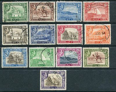 ADEN 1939-48 KGVI Used (cto)  Set to 10R 13 Stamps
