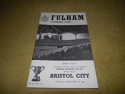Fulham v Bristol City - League Cup 5th round at Craven Cottage in 1970