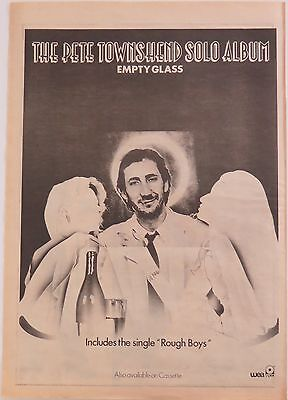 "Pete Townshend ""Empty Glass"" full-page UK ad 1980 + Bonus"
