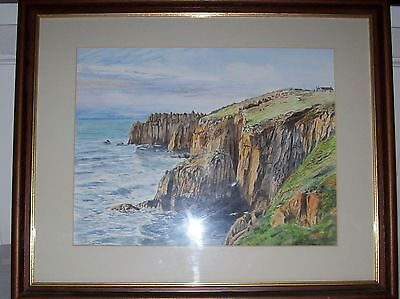 Large Watercolour Painting of a Coastal Scene . Sussex Artist-Framed & Glazed