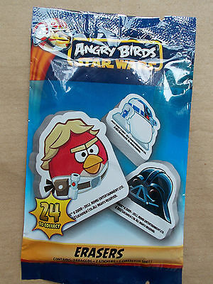 New Star Wars Angry Birds Rubbers / Erasers Wityh 2 Stickers & Collectors Sheet