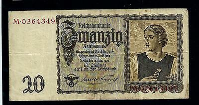 REICHSBANKNOTE GERMANY - with swastica - 16 juni 1939- 20 mark//38