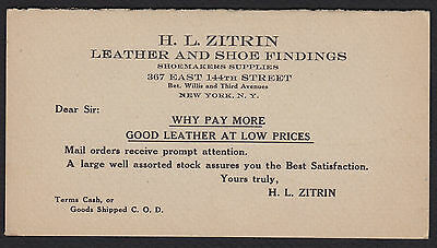 H.L. Zitrin-New York City-Shoemaker-Shoe and Leather-Price List-Vintage
