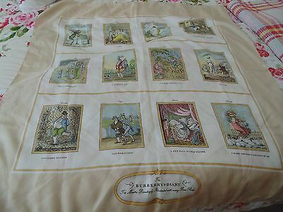 Burberry Silk Scarf 'the Burberry Diary' Rare Prints  Rare Vintage Chic