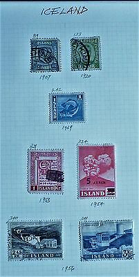 Iceland-Selection of 7 x Mint & F/Used Early and Mid-Period Stamps