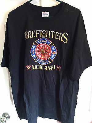 Black Firefighters T-Shirt Size 2XL NEW Fire Rescue