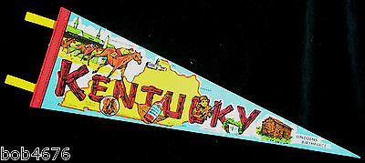 """Vintage 1970s KENTUCKY LINCOLN'S BIRTHPLACE 25"""" Felt Pennant ---  Colorful!"""