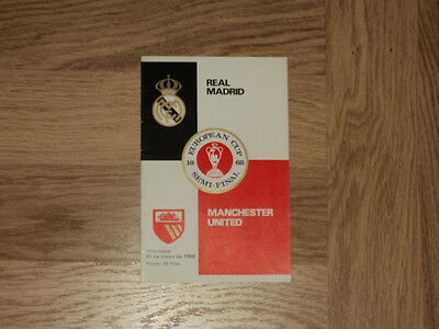 Real Madrid v Manchester United Football Programme European Cup Semi 15.5.68