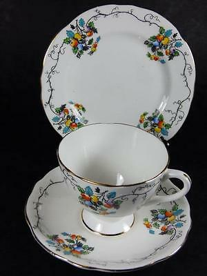 ORANGE and BLUE FRUITS Art Deco TEA TRIO, Gladstone China,Gilded, vgc