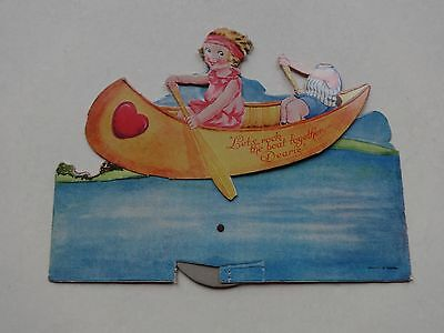 "1930's Mechanical Valentine Man & Woman in Canoe ""Let's Rock The Boat Together"""