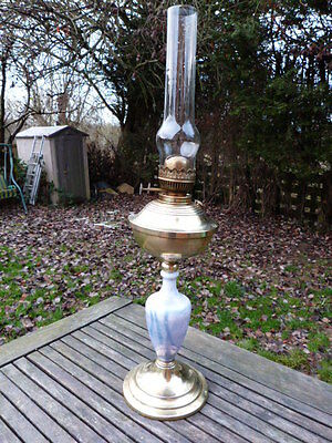 Stunning Tall Antique Vintage Brass & Glass Oil Table Lamp.