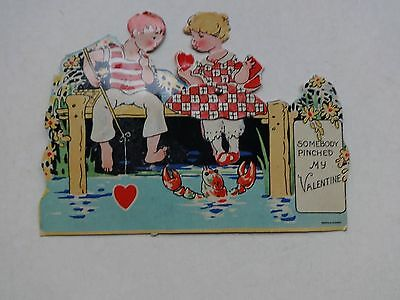 1930's Mechanical Valentine Boy & Girl Fishing Lobster Pinching Toes Germany