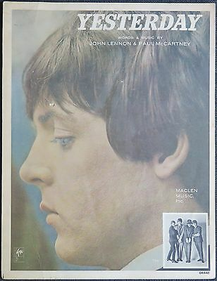 """The Beatles """"Yesterday"""" US mid-60s sheet music"""