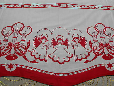 Vintage Swedish Hand Printed Christmas Curtain Mid Century Angels Candles