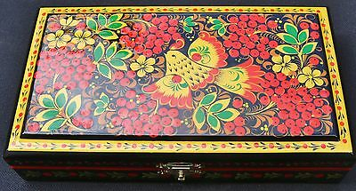 Hand crafted Russian Khokhloma lacquer art jewelry trinket box, signed by artist